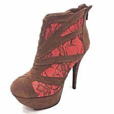 DOLLHOUSE 8 Brown Zip Up Platform Stilettos Heels Clubwear Lace NEW