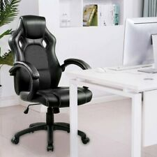 Black Office Executive Racing Gaming Chairs Swivel Leather Computer Desk Chair