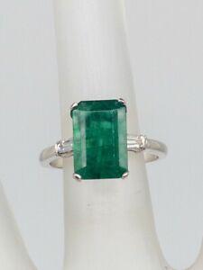 50\u2019s Antique Vintage Estate PALLADIUM EMERALD DIAMOND Cocktail Ring Size 6