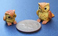 1:12 Polymer Clay Parent & Baby Brown Owl Dolls House Miniature Garden Bird A