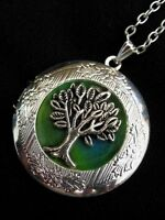 Tree of Life LOCKET Necklace Pendant Gothic Emerald Green Vintage Fantasy Fae
