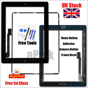 Black Screen For iPad 3 Touch Digitizer Replacement Frame Bezel Home Button Tool