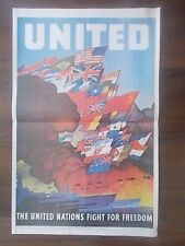 VINTAGE STYLE WWII PROPAGANDA POSTER - THE UNITED NATIONS FIGHT FOR FREEDOM
