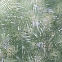 3-D Floral Tropical Palm Leaves wicker bamboo Green Silver textured Wallpaper 3D