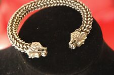 Old Silver / White Metal Double Dragons Head Bracelet …beautiful & unique unisex