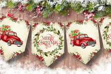 American Christmas Vintage Red Truck Bunting/Banner & Ribbon