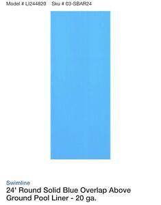 Swimline LI244820 24' Solid Blue Round Above Ground Swimming Pool Overlap Liner