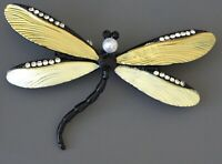 Unique Dragonfly  brooch  Pin enamel on metal.with crystals