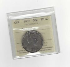 **1907**, ICCS Graded Canadian Silver 50 Cent, **EF-40 Corrosion**
