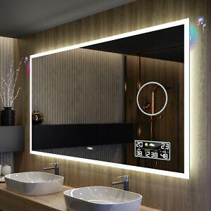 BADSPIEGEL mit LED Beleuchtung Wandspiegel Lichtspiegel BT AUDIO WETTER SCHALTER
