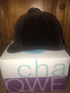 Charles Owen Brown Velvet Beagler Show Riding Hat Size 56  6 7/8 NO RESERVE
