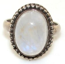 Sterling Silver ring with oval cabochon cut milky white stone