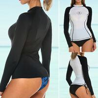 Womens Long Sleeve Rash Guard Swim Shirt SPF40+ Surfing Swimsuit Swimwear Surf