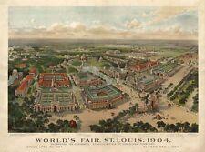 MAP AERIAL BIRDS EYE VIEW ST LOUIS MISSOURI WORLDS FAIR 1904 ART PRINT LF2563