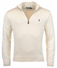Polo Ralph Lauren Mens Half Zip Mock Neck Cotton Sweater - L - Antique Cream