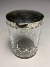 Pretty Edouard Foehr 800 Silver Lid & Cut Crystal Jar