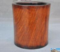 """6"""" Old Chinese Huanghuali Wood Hand-Carved Live bottom Brush Pot pencil vase Jar"""