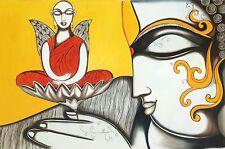 Buddha Wall Art Hand Painted Canvas Oil Indian Buddhist Spiritual Decor Painting
