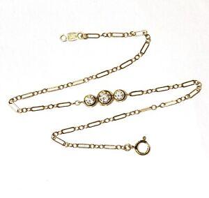 "14k yellow gold 3 stone Bezel Set cubic zirconia ankle bracelet 1.3g 9"" ladies"
