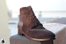 Handmade Men's Genuine Brown Suede&Leather Lace up Chukka Boots