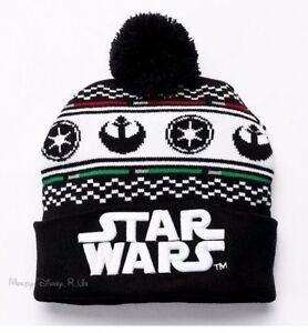 Disney Star Wars Rebel Alliance Imperial Knit Pom Fair Isle Design Beanie Hat