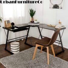 Glass Corner Computer Pc Desk L Shaped Office Furniture Table Workstation Black