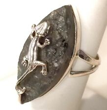 """Rough Labradorite Solid Sterling Silver """"Lizard"""" Ring 6.6g Size 6"""