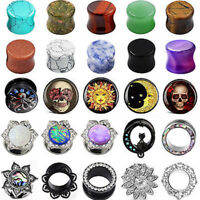 PAIR Stone&Acrylic&Steel Ear Gauges Ear Plugs Double Flared Piercing 2G-1''