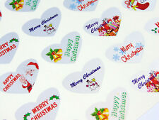 Merry Happy Christmas Heart Greeting Stickers Silver Self-stick Labels for
