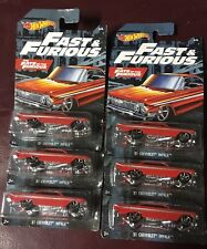 2019 Hot Wheels Fast and Furious 6/6 '61 Chevrolet Impala WalMart Excl. Lot of 6