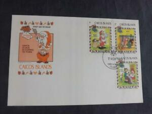 Caicos Islands 1983 Christmas First Day Cover Disney Goofy & Patch Louie Morty