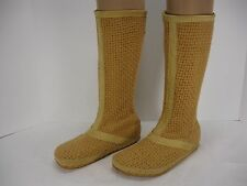 PATAGONIA WILD THYME PLYWOOD TAN WOVEN KNIT BACK ZIP MID-CALF BOOTS WOMEN'S 6.5