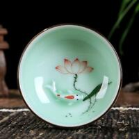 Longquan celadon tea cup porcelain cup of tea kungfu cup fish relief handpainted