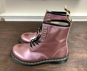 Dr. Doc Martens 1460 Vegan Pink Metallic Combat Boots Women's Size 7 NEW