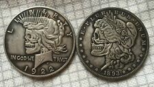 Double Skull Style Coin 1922-1893 ☀Two Face☀ Clad Plated Toned Dollar- Rare - ds