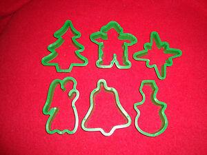 Set of 6  Playdoh Christmas Cookie Cutters SNOWMAN STAR ANGEL TREE BELL CLOWNMAN