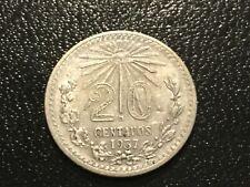 1937 MEXICO 20 CENTAVOS SILVER PLATA Mexican