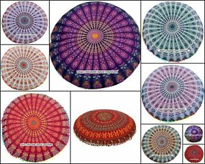 Large 32 Inches Cotton Wonderful Floor Cushion Cover Footstool Mandala Design