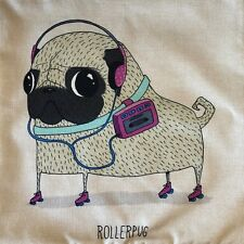 Pug Cushion Cover - Roller Skating Pug Design - 45cm x 45cm
