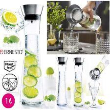 Ernesto Wasserkaraffe Glaskaraffe Karaffe Glas Edelstahl Küche trinken Flasche
