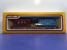 """HO Scale 50 Foot """"Trailer Train"""" MTTX 97566 Flat Car W /ACL & Clipper Containers"""