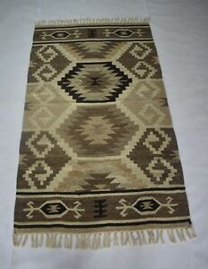 3'x 5' Hand Woven Geometric Wool Soft Rug Reversible Bedroom Carpet DN-1275