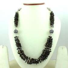 NATURAL SMOKY QUARTZ CHIPS GEMSTONE BEADED NECKLACE 69 GRAMS