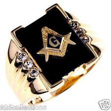 Free Mason Masonic Semi-Precious Black Onyx Stone Gold Plated Men Ring Size 9