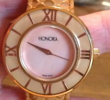 HONORA LIGHT PINK FACE WATCH  SWISS MOVEMENTW BROWN  LEATHER BAND