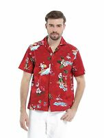 Exclusive Men 100% Cotton Aloha Hawaiian Shirt Christmas Holiday Santa Red