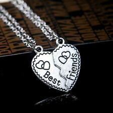 2pcs Jewelry Best Friend Broken Heart Couple Pendant Silver Plated Necklace