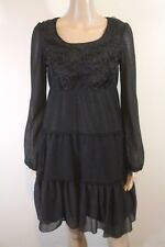 Anthropologie A'Reve Tiered Lace Peasant Dress S Black Rosette Goth Lolita Witch