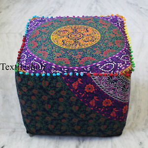 "22"" Indian Handmade Square Pouffe Mandala Cotton Ottoman Pouf Covers Footstool"