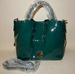 New Dooney & Bourke Patent Small Brenna Satchel Bag Teal